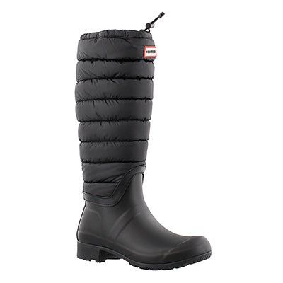 Hunter Women's ORIGINAL QUILTED LEG black rain boots