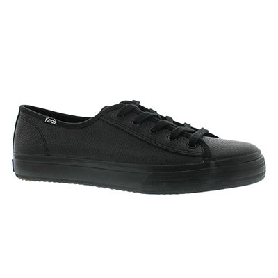Lds Double Up blk leather sneaker