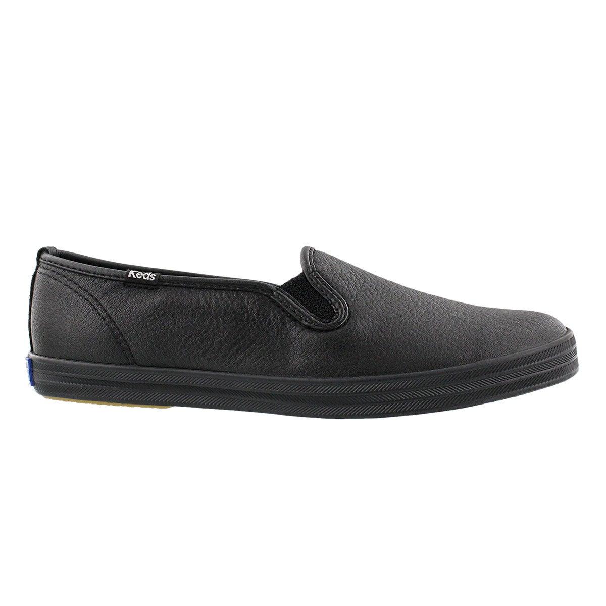 black leather keds slip ons