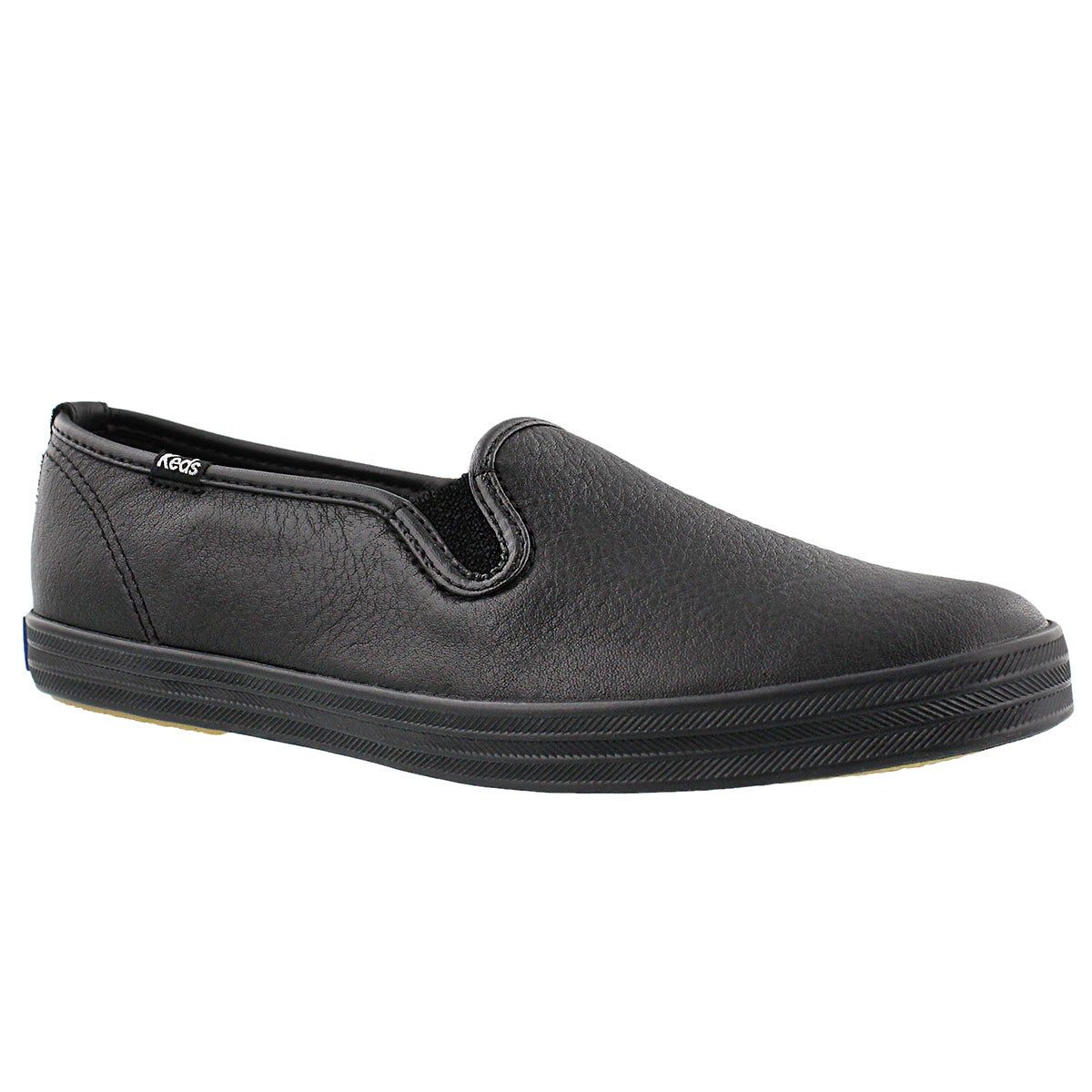 Lds Champion blk leather slip on sneaker