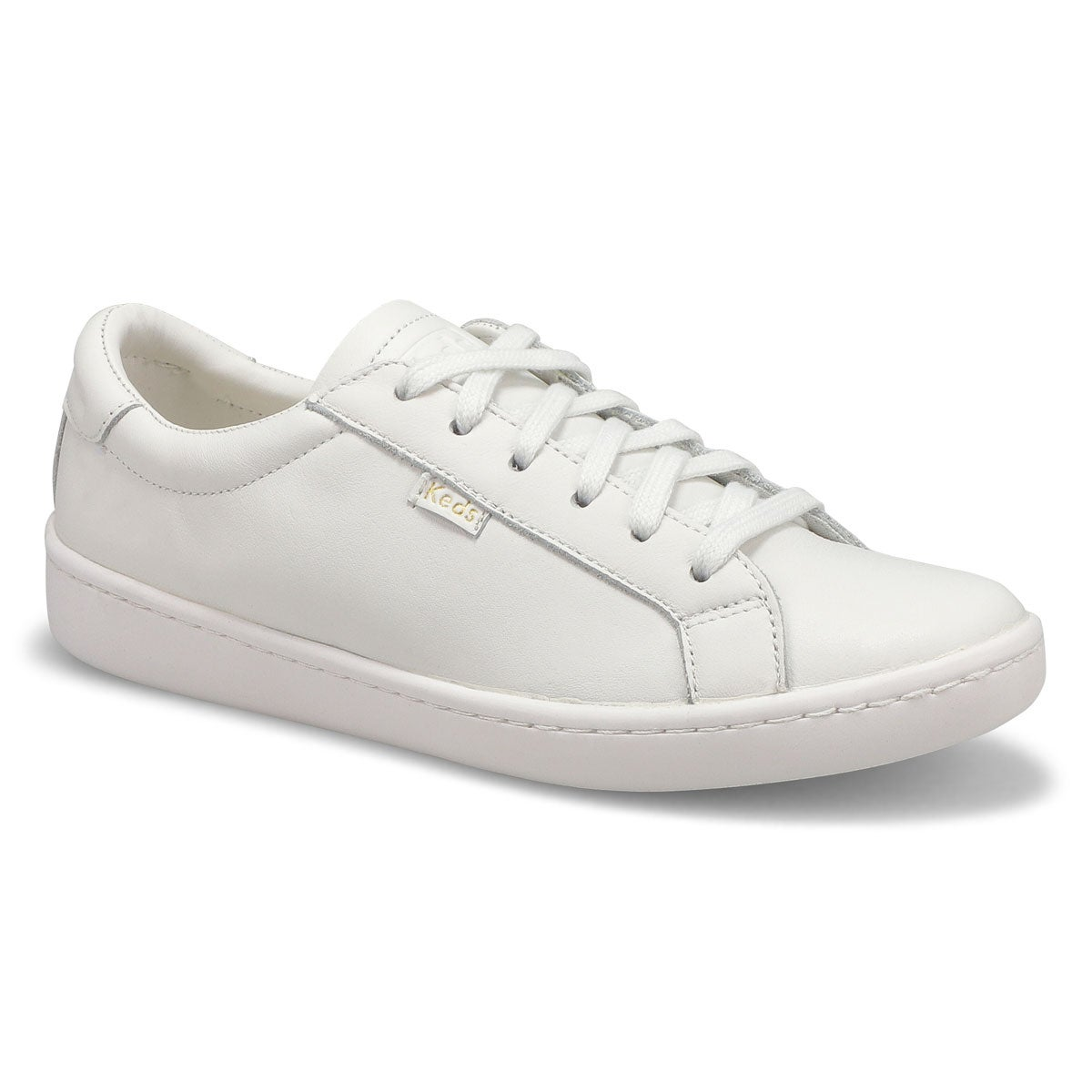 Lds Ace white/white lthr lace up sneaker