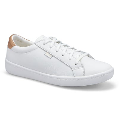 Lds Ace white/rose gold leather sneaker