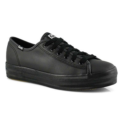 Espadrille Triple Kick, cuir noir, fem