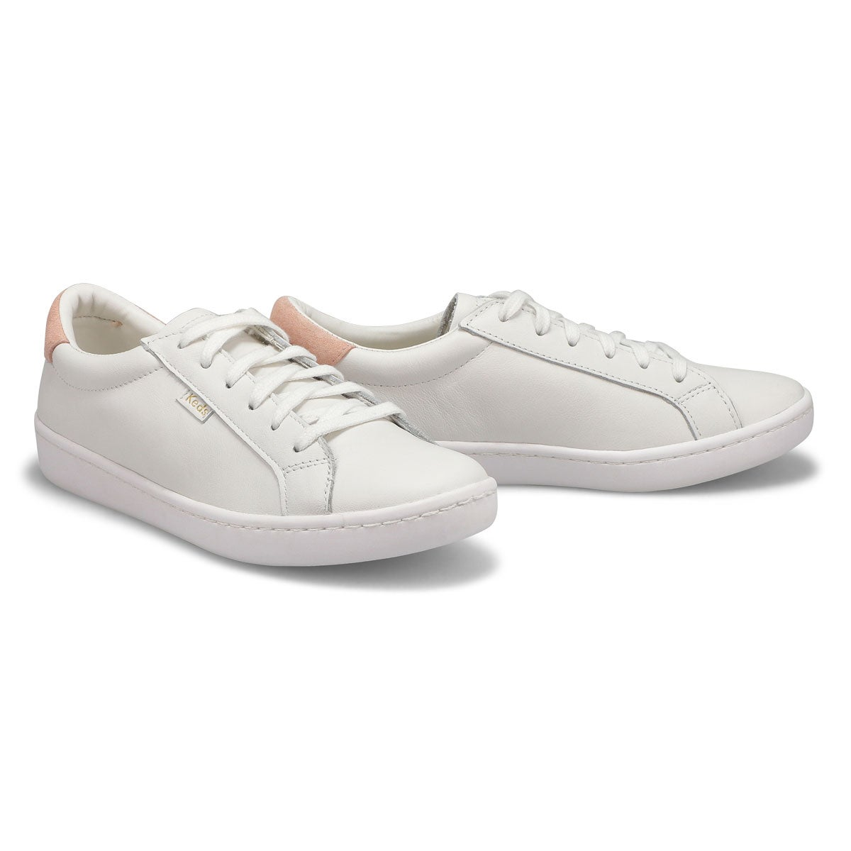 Lds Ace white/blush leather sneaker