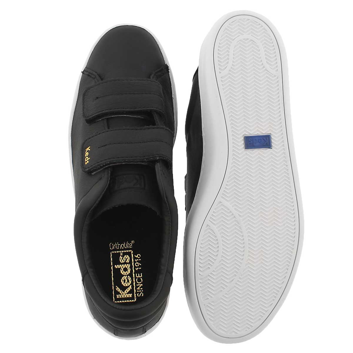 Lds Ace blk hook & loop lthr sneaker