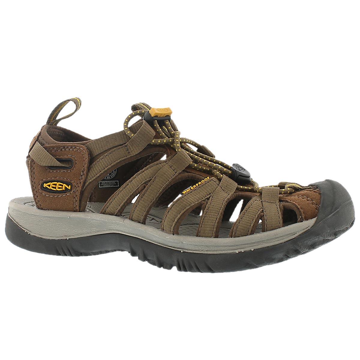 Women's WHISPER CLASSIC coffee/yellow sport sandal
