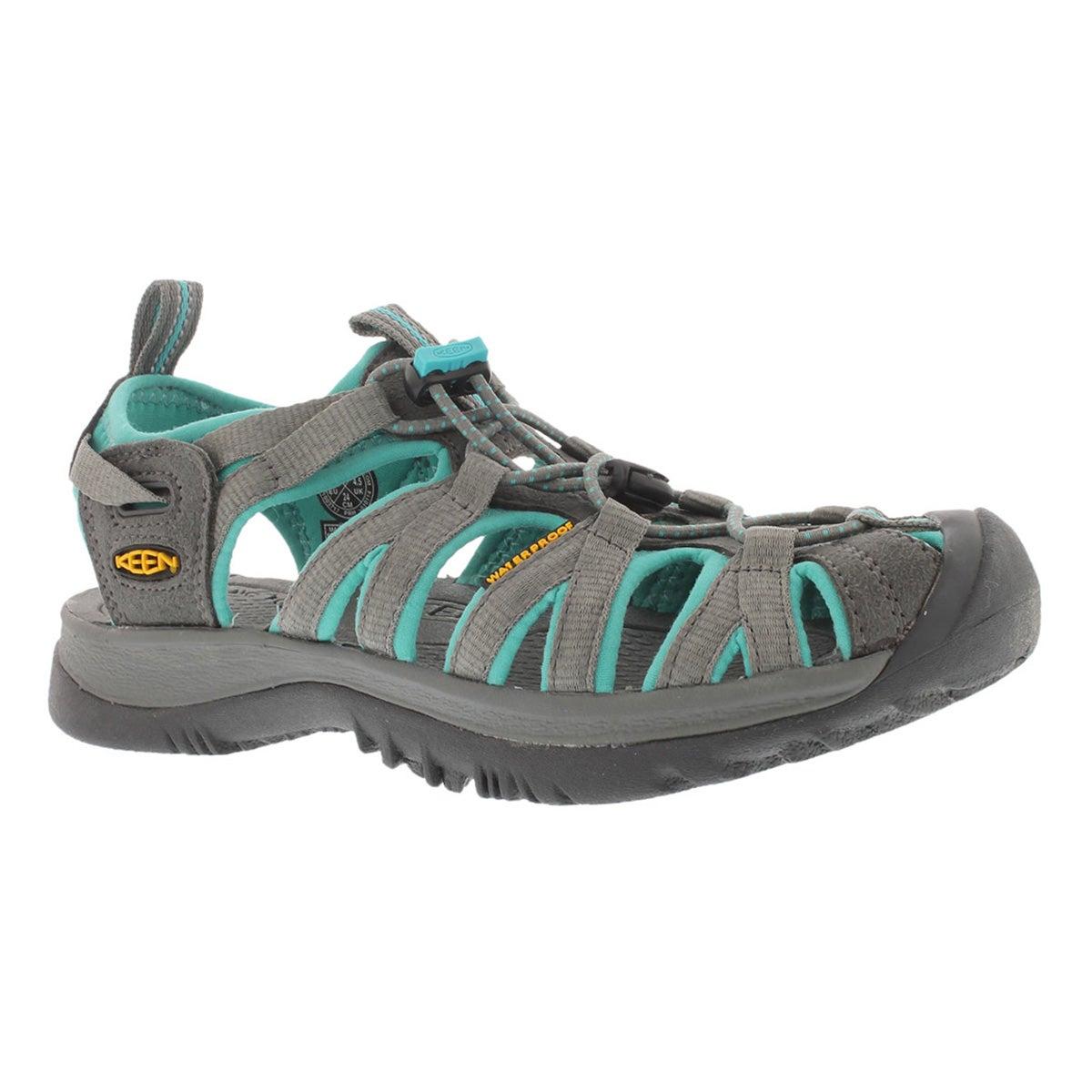 Women's WHISPER dark shadow/green sport sandals