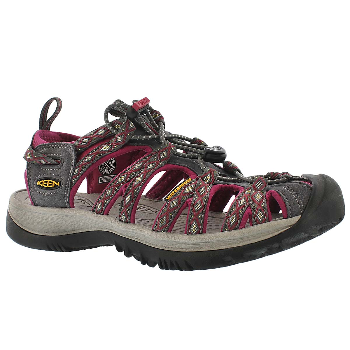 Women's WHISPER magnet grey/sangria sport sandals