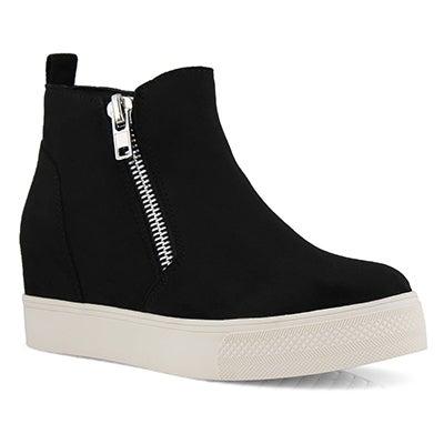 Lds Widget black hidden wedge sneaker