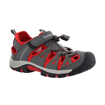 Bys Wildcat grey/red fisherman sandal