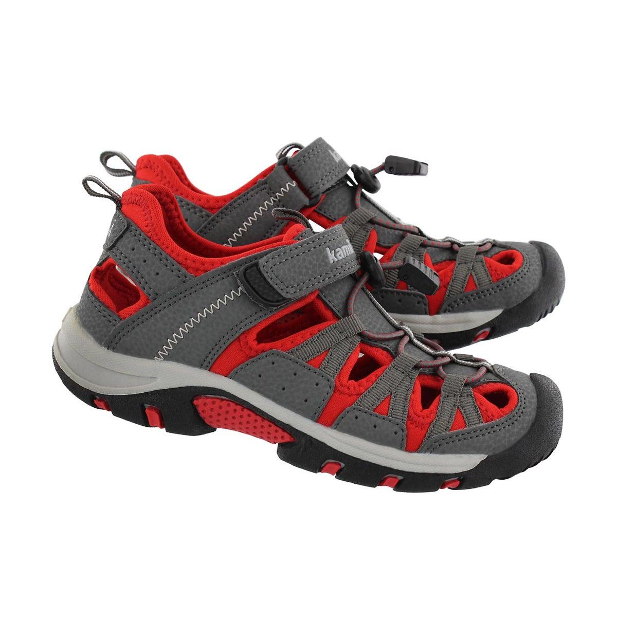 Bys Wildcat grey/red fisherman sandal