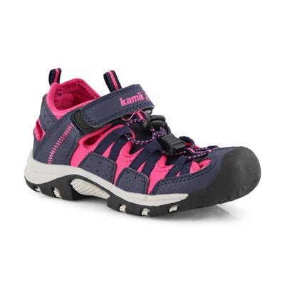 Grls Wildcat navy/rose fisherman sandal