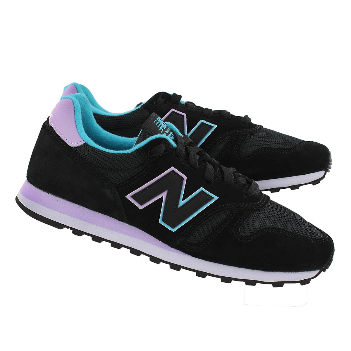 Lds 373 black/lilac lace up running shoe