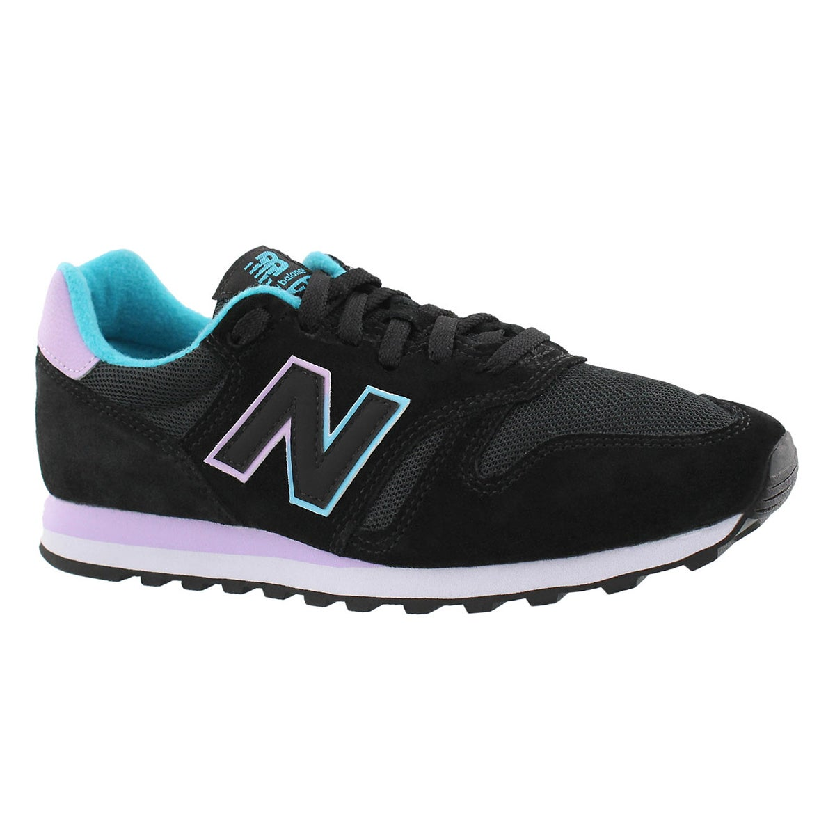 Women's 373 black/lilac lace up running shoes