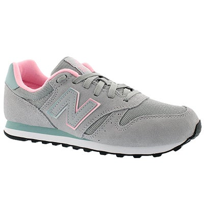 Lds 373 grey/green lace up running shoe