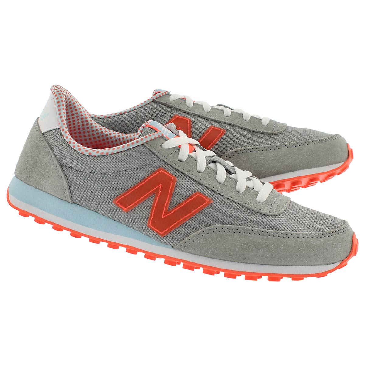 Lds 410 grey/red lace up sneaker