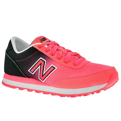 New Balance Women's 501 black/coral ombre lace up sneakers
