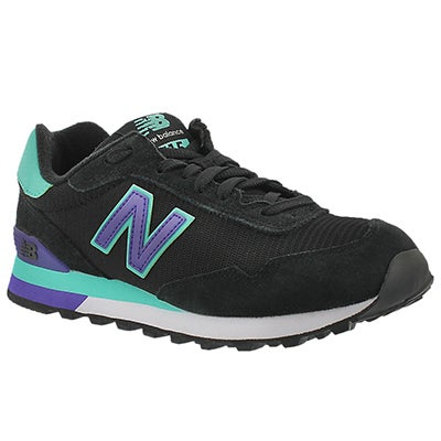 New Balance Women's 515 black/blue lace up sneakers