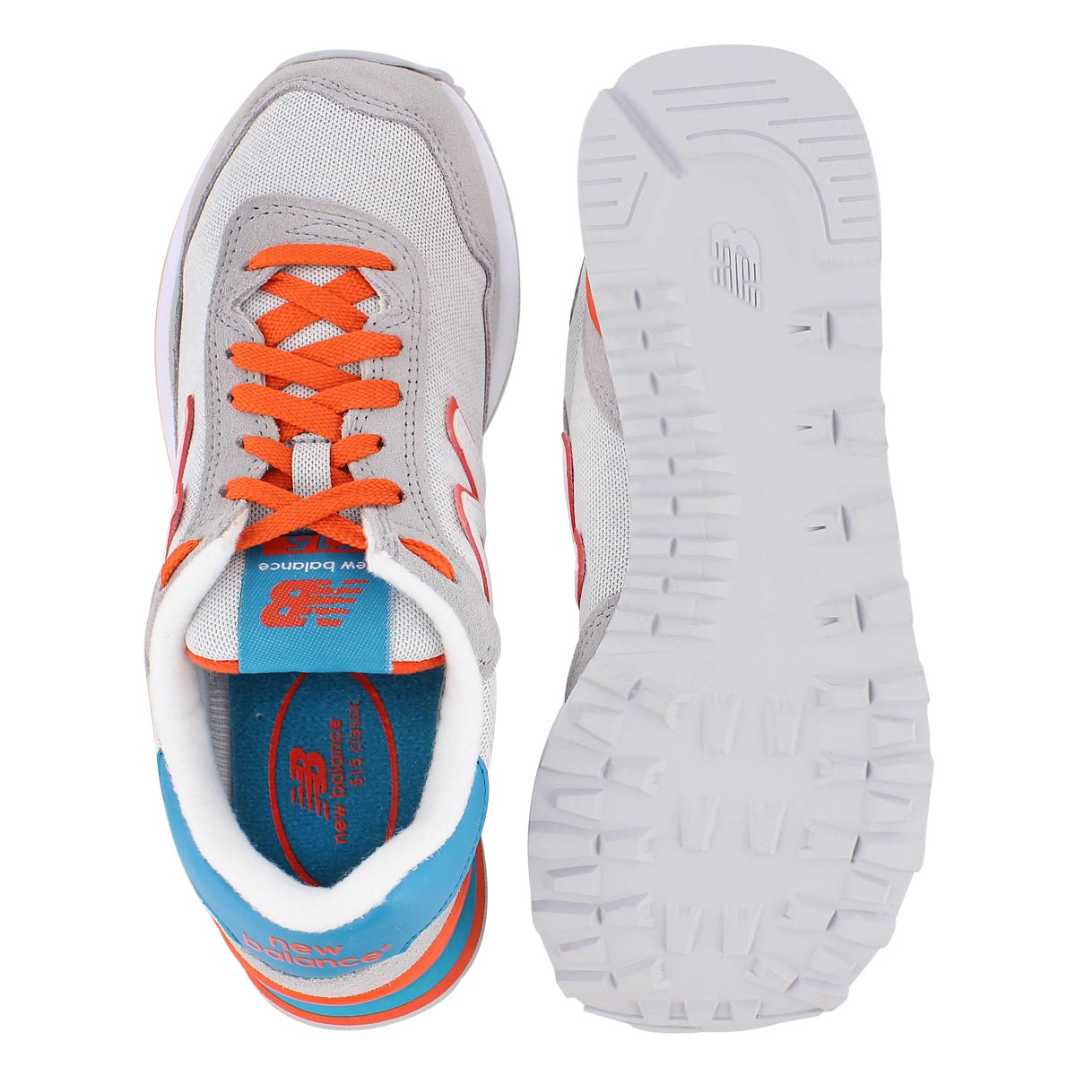 Lds 515 gry/orange lace up sneaker