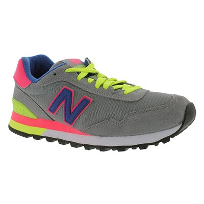 New Balance Women's 515 grey/lime lace up sneakers