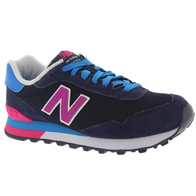 New Balance Women's 515 navy/pink lace up sneakers