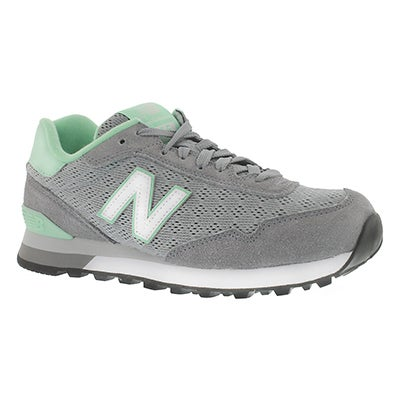 New Balance Women's 515 grey/green lace-up sneakers