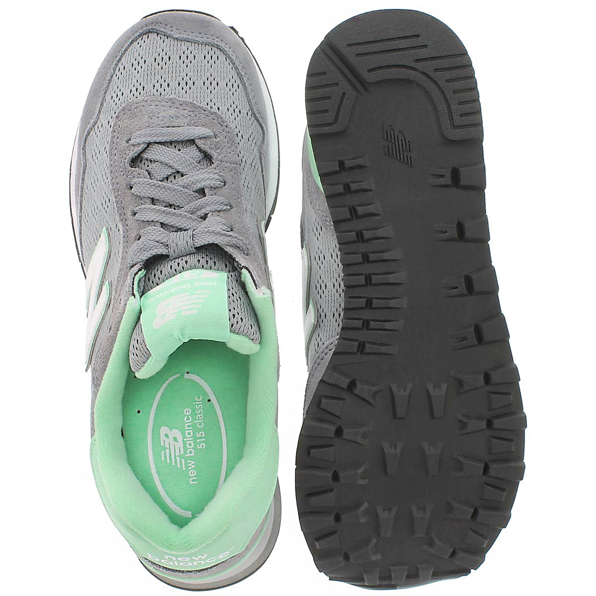 Lds 515 grey/green lace up sneaker