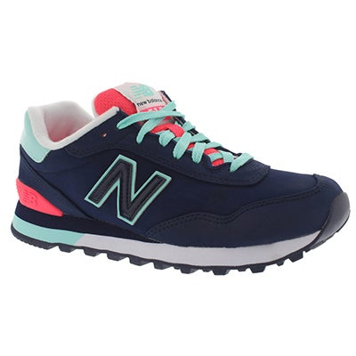 New Balance Women's 515 navy/bright blue lace up sneakers