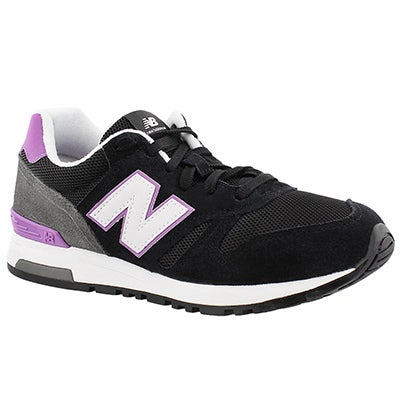 New Balance Women's 565 black/purple lace up sneakers
