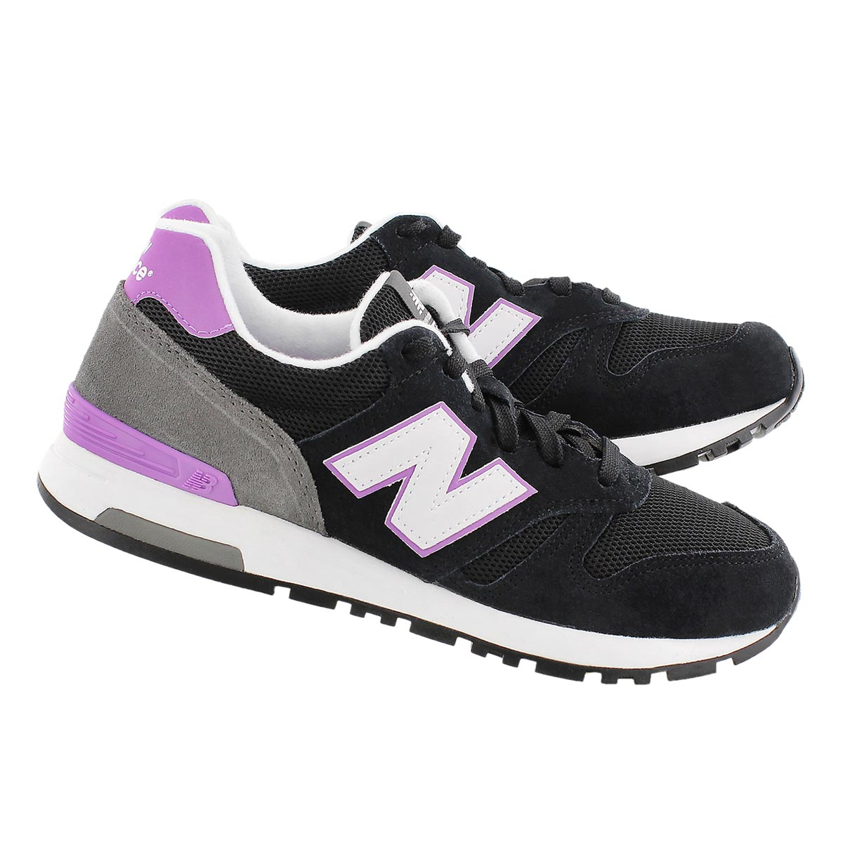 Lds 565 blk/purple lace up sneaker