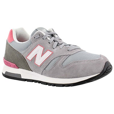 New Balance Women's 565 grey/pink lace up sneakers