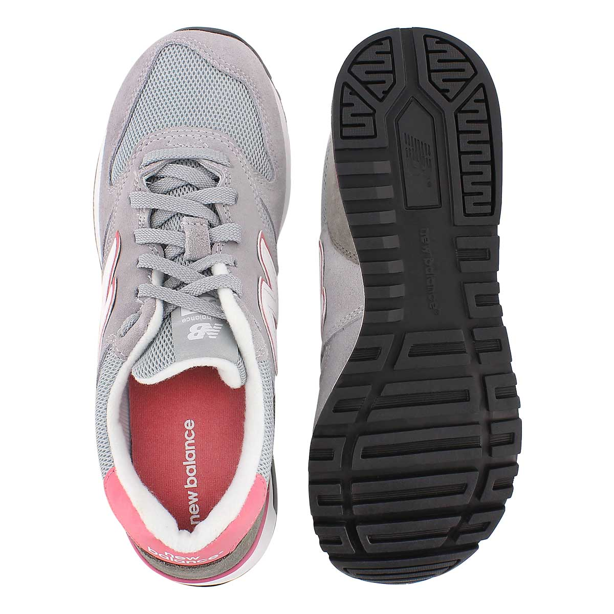 Lds 565 grey/pink lace up sneaker