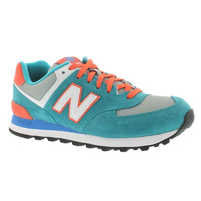 New Balance Women's 574 blue/orange lace-up sneakers