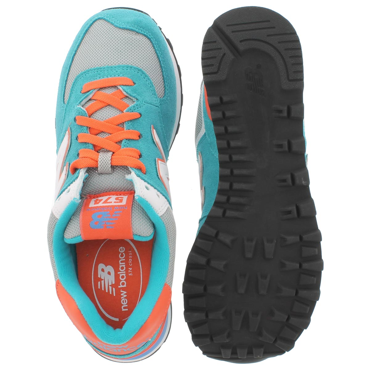 Lds 574 blue/orange lace up sneaker