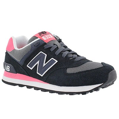 New Balance Women's 574  black/coral lace up sneakers