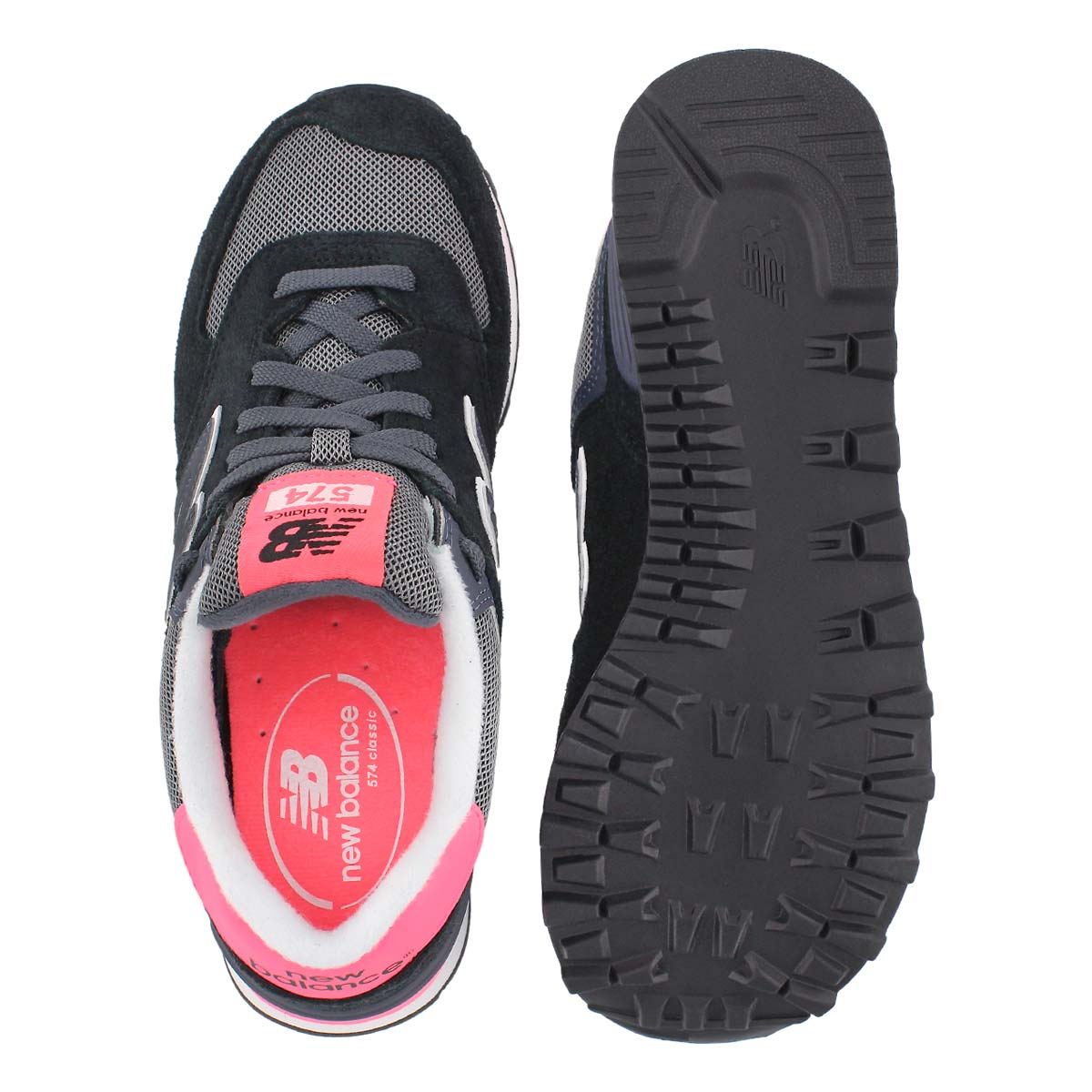 Lds 574 black/coral lace up sneaker