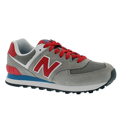 New Balance Women's 574 grey & red lace up sneaker