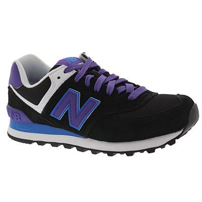New Balance Women's 574 black/blue lace up sneakers