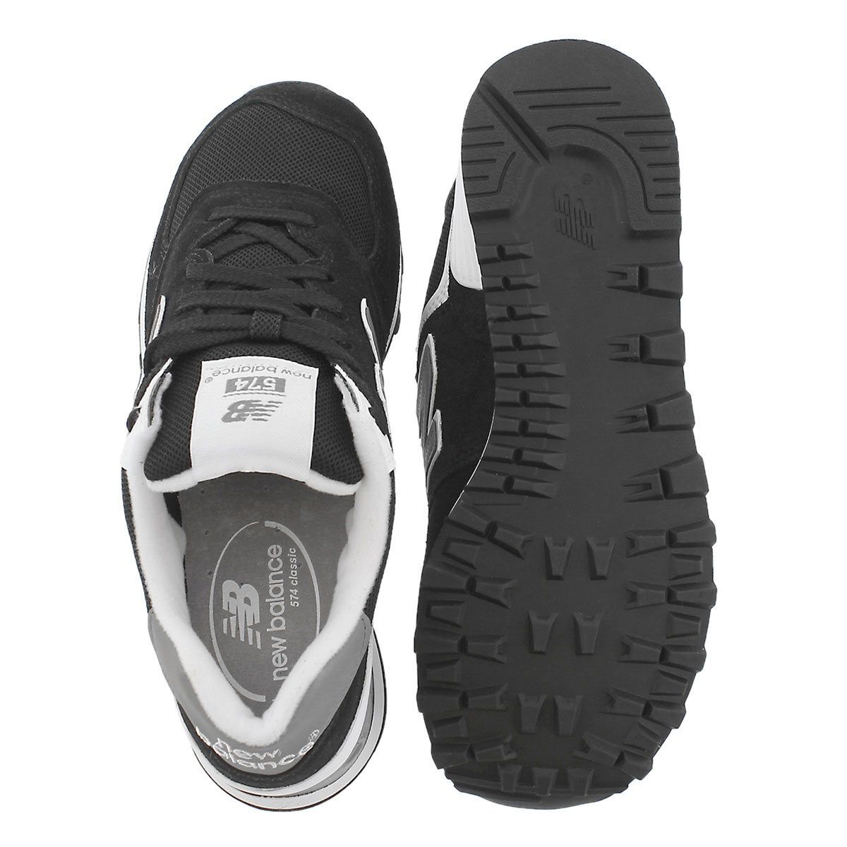 Lds 574 black/white lace up sneaker
