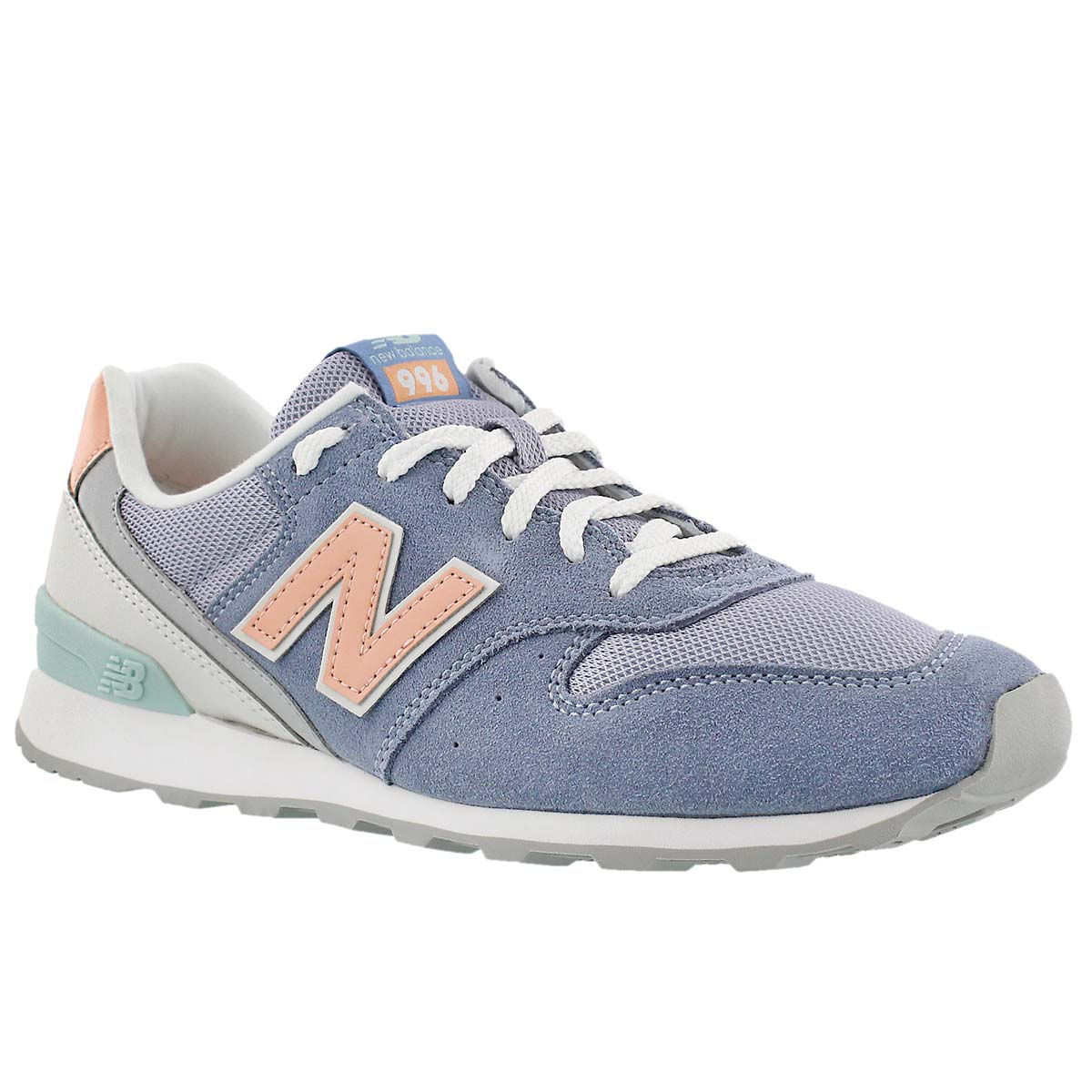 Lds 996 blue/white/orang lace up sneaker