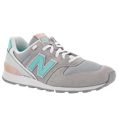 New Balance Women's 996 grey/white/teal lace up sneakers