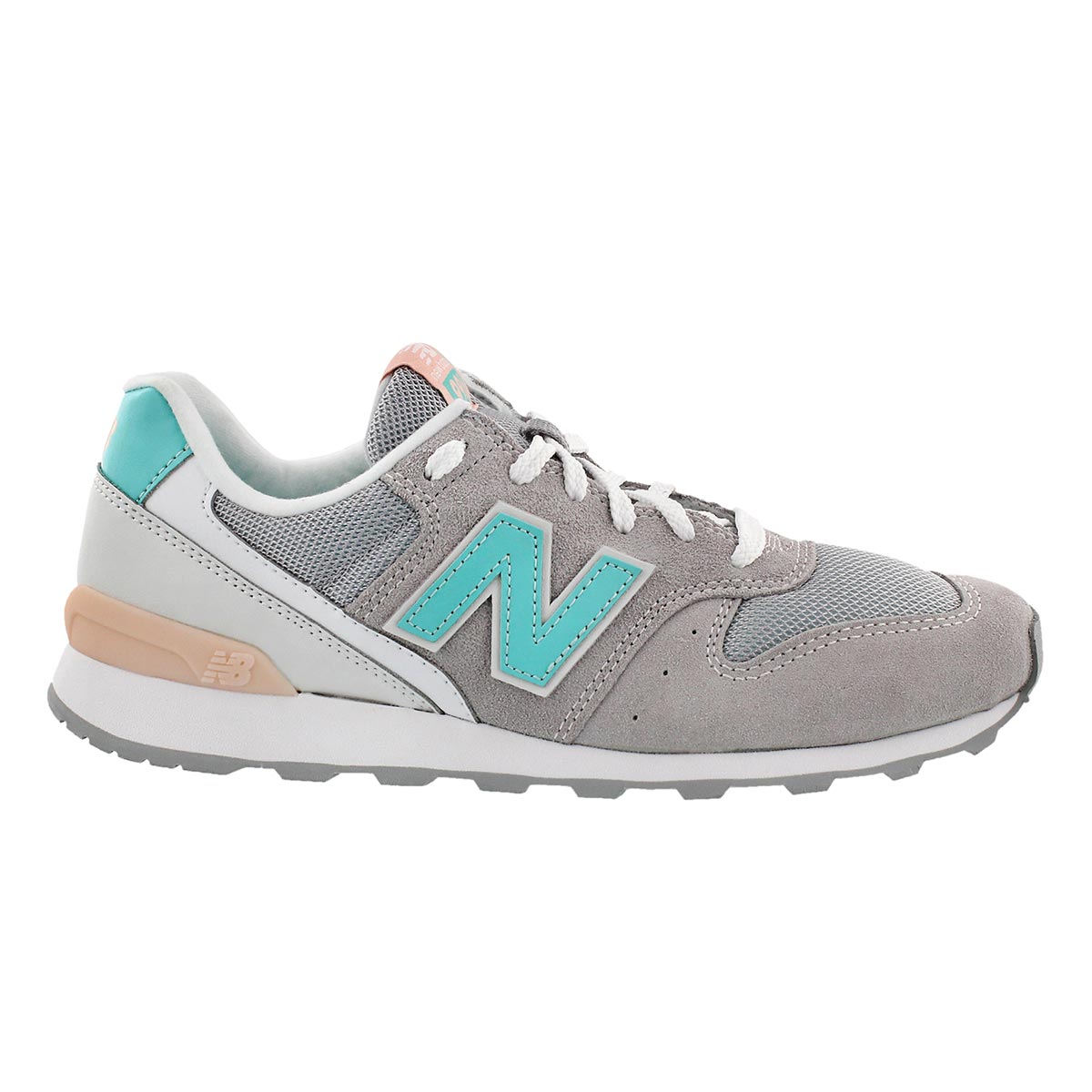 Lds 996 grey/white/teal lace up sneaker
