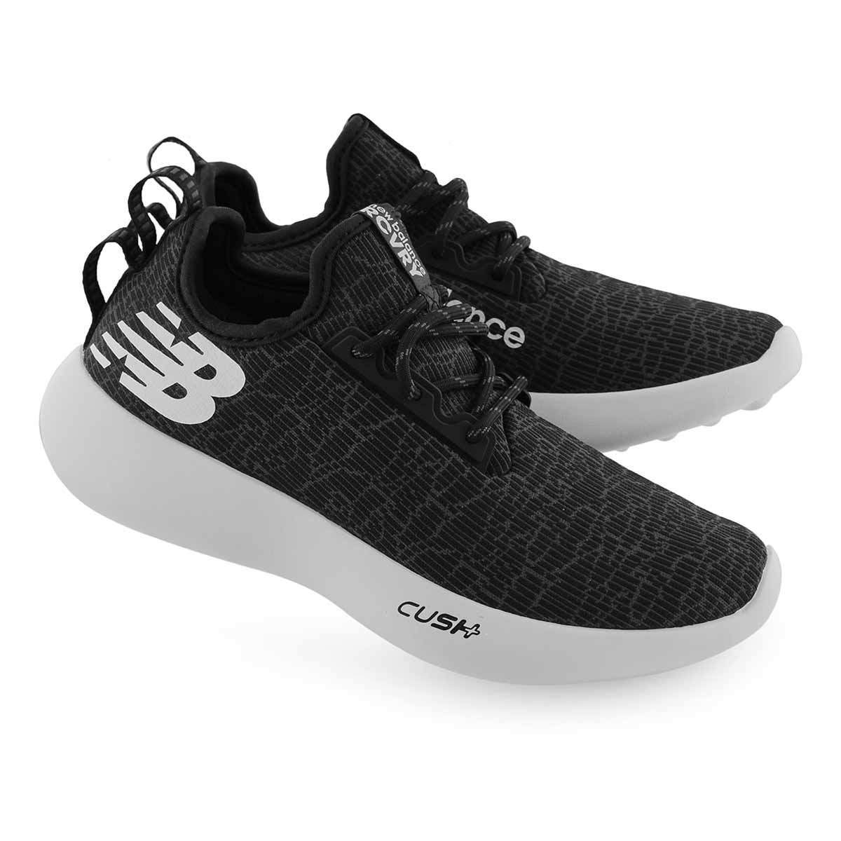 Women's RECOVERY black/white lace up sneakers