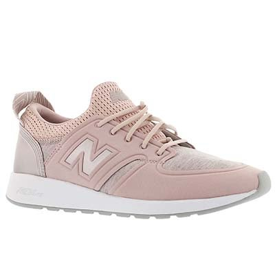 Lds 420 rose/champ mtlc lace up sneaker