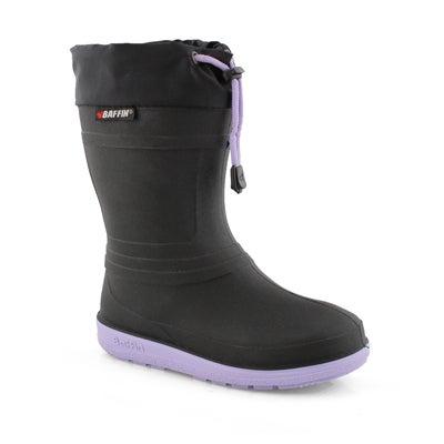 Grls Ice Castle blk/lav wtpf winter boot