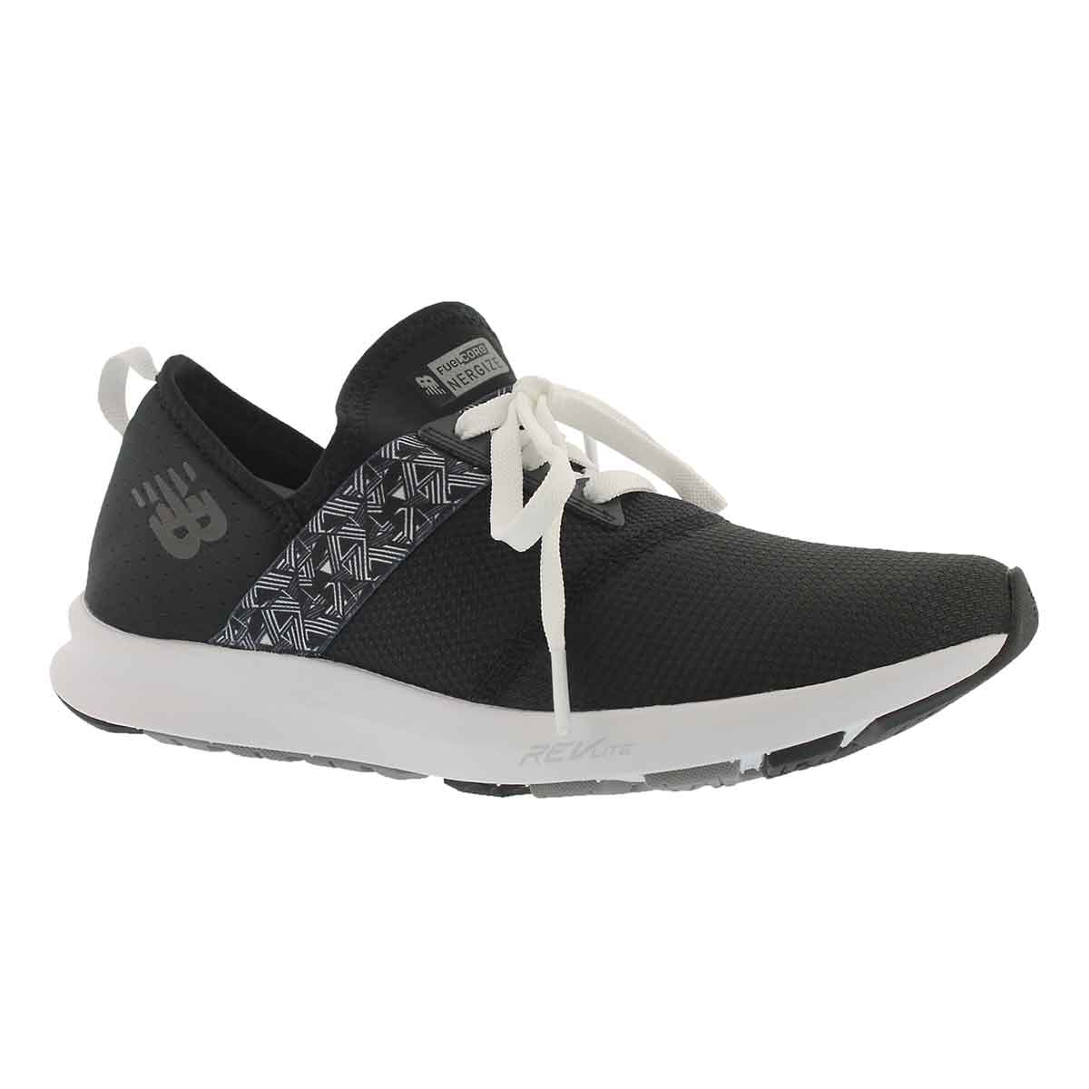 Women's FUELCORE black/white lace up sneakers