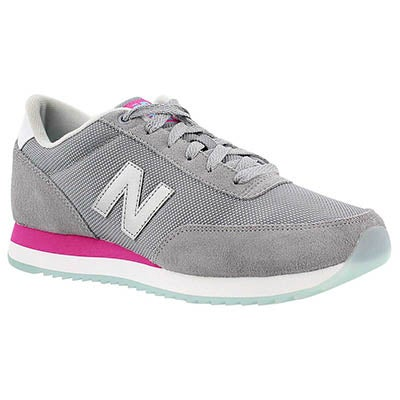 New Balance Women's 501 grey/pink lace up sneakers