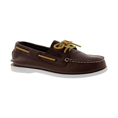 Bys A/O Slip On brown lthr boat shoe