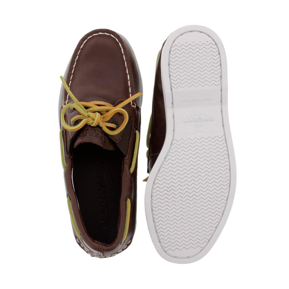 Bys A/O Slip On brown lthr boat shoe