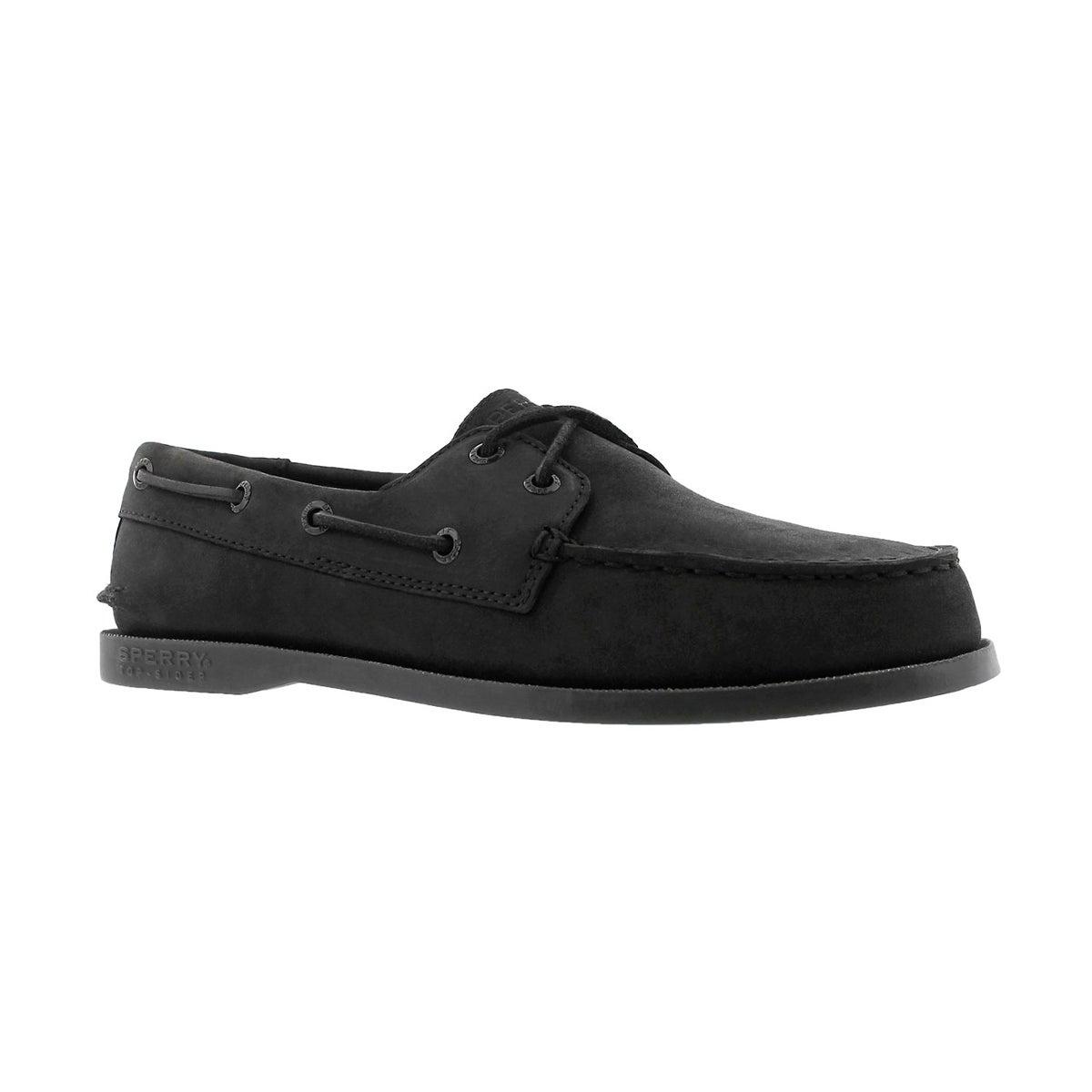 Boys' AUTHENTIC ORIGINAL black nubuck boat shoe